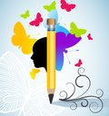 Creativity and or writing concept with pencil butterflies person and flourish Stock Images