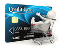Credit card - 3d man - Shopping cart Royalty Free Stock Photo