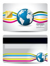 Credit card design with waves and globe Stock Photos
