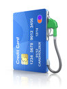 Credit card with gas nozzle Royalty Free Stock Image
