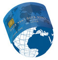 Credit Card on Globe Royalty Free Stock Image