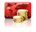 Credit card illustration and coins on white background Royalty Free Stock Images