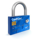 Credit card lock clipping path included image with Stock Images