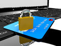 Credit card and lock on laptop Stock Images