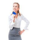 Credit card is the perfect solution young woman in office attire figure isolated on a white background with clipping path Royalty Free Stock Photo