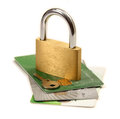 Credit card security a pile of cards with a padlock and key on top of them Royalty Free Stock Photography