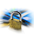 Credit card security safety pin. Zoom effect Royalty Free Stock Photo