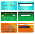 Credit card set of designs in different colors with both front and back sides Royalty Free Stock Photography