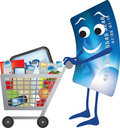 Credit card and shopping trolley cartoon Royalty Free Stock Image