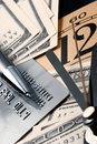 Credit card, time and dollars cash Royalty Free Stock Photos