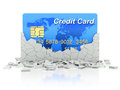 Credit card under collapsed wall blue d concept Royalty Free Stock Image