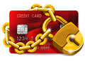 Credit card under the protection with golden padlock concept of Royalty Free Stock Photo