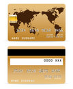 Credit Card on Word Map Backgr Stock Photo