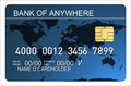 Credit card with world map blu