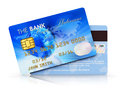 Credit cards electronic banking and finace business concept set of blue plastic isolated on white background with reflection Royalty Free Stock Images