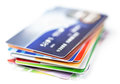 Credit cards stack on white Royalty Free Stock Photography