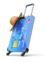 Credit cards and suitcase with the hat d concept Royalty Free Stock Photos