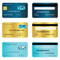 Credit cart three different style card designs both front and back sides are included Royalty Free Stock Photos