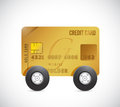 Credit cart on wheels illustration design over a white background Royalty Free Stock Photo