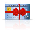 Credit or debit card design with red ribbon and bo bow vector illustration Stock Images