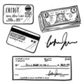 Credit and financial objects sketch Stock Image