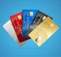 Credit Plastic Card Set. Vector
