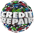Credit repair improve increase score rating ability borrow money words in white d letters on a ball or sphere of cards advice to Royalty Free Stock Image