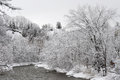 Credit river in the cold winter morning after snowfall Royalty Free Stock Photo
