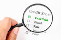 Credit score form with magnifier glass. Royalty Free Stock Photo