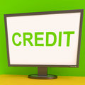 Credit screen shows finance debt or loan showing for purchasing Stock Photography