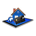 Creditcard with home on tablet,tablet illustration Royalty Free Stock Photo
