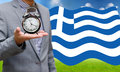 Creditor show time limit to pay dept financial crisis in greece concept Stock Image