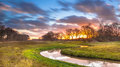 Creek with Blurred Clouds Royalty Free Stock Photo