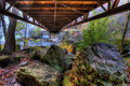 Creek and Bridge in HDR Royalty Free Stock Photos