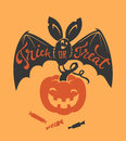 Creepy bat with Trick or Treat phrase hand written on it, carved spooky pumpkin and candies on orange background. Vector