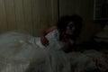 Creepy bride in devastated room Royalty Free Stock Photo
