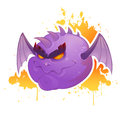 Creepy cartoon evil demon with bat wings and spikes on grungy splatter background Royalty Free Stock Photo