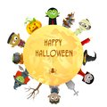 Creepy character wishing happy halloween easy to edit vector illustration of Stock Photos
