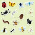 Creepy crawly cutouts insect icons simple gradients easy to change colour white outlines can be easily removed and icons used Royalty Free Stock Image
