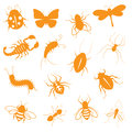 Creepy crawly icons insect gradient free and easy to change colour Royalty Free Stock Photo