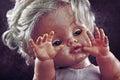 Creepy doll face scary like from horror movie Royalty Free Stock Photos