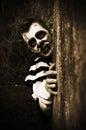 Creepy horror clown a cosplay photoshoot Stock Image