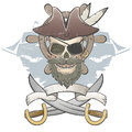 Creepy pirate skull illustration of a Stock Images