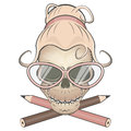 Creepy secretary skull illustration of a Royalty Free Stock Image