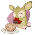 Creepy zombie deer with brain illustration of a Royalty Free Stock Photography