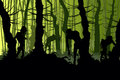 Creepy zombies in a forest