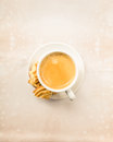 Crema coffee with biscuits on bright underground Royalty Free Stock Photos