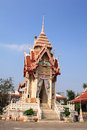 Crematory or pyre in thai temple against blue sky Stock Images