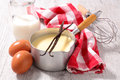Creme anglaise and ingredient Royalty Free Stock Photo