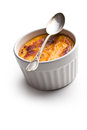 Creme brulee in ceramic bowl Royalty Free Stock Photography